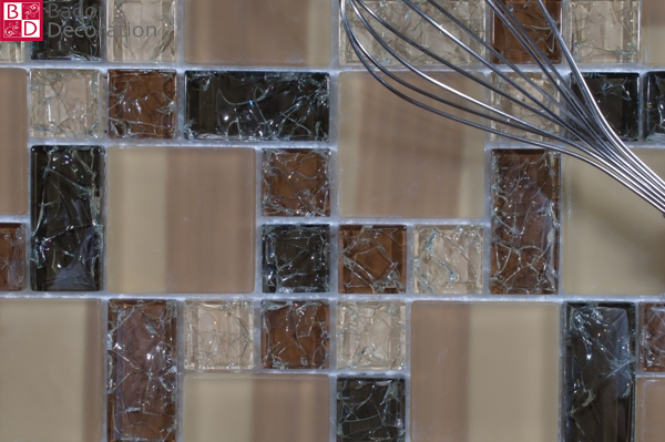 Mosaic Glass Mosaic Tiles 1 Matte Beige Brown With Effect