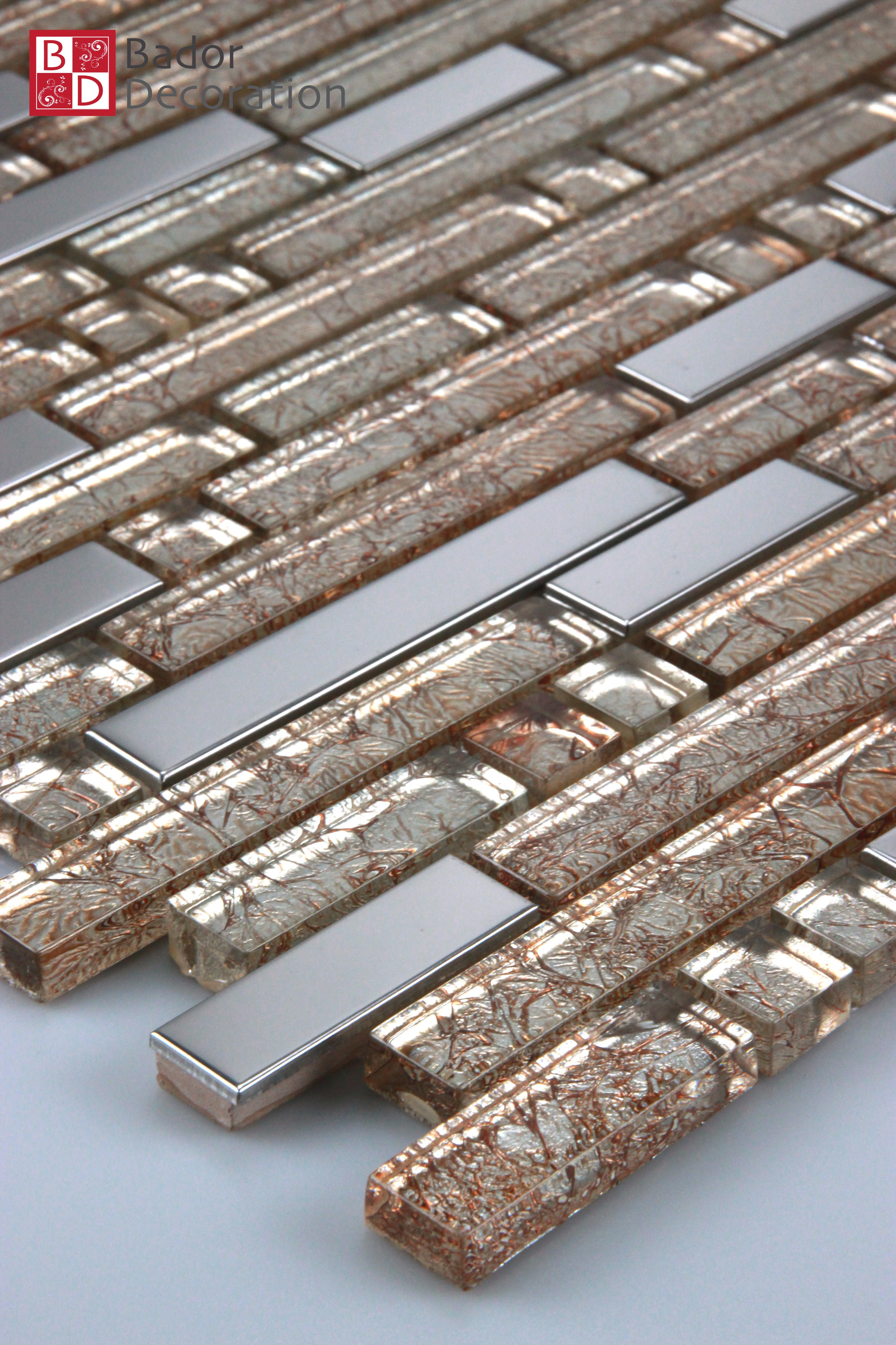 Glasmosaik Mosaikfliesen Mosaikglas Mosaik aus Glas Edelstahl Gold Silber 30x30