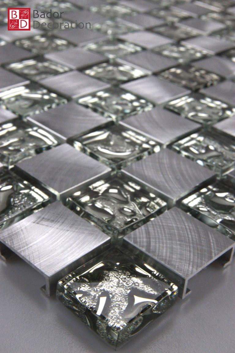 Bador decoration mosaik mini square - Mosaikfliesen silber ...
